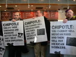 On Thursday, January 20, 2011, eight people were arrested after protesting inside of a Chipotle restaurant in Minneapolis. In December, Chipotle fired more than 100 Latino workers following ICE audits. See video below profiling one fired Chipotle worker.   (Photo courtesy Workday Minnesota)