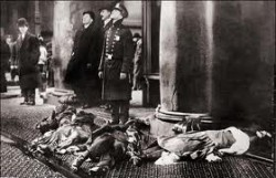 Many of the victims of the fire were trapped on the 8th floor of the factory, and jumped from windows to their deaths on sidewalks below. Crowds gathered from adjacent Washington Square Park as the tragedy unfolded.   (Photo courtesy International Ladies' Garment Workers' Union)