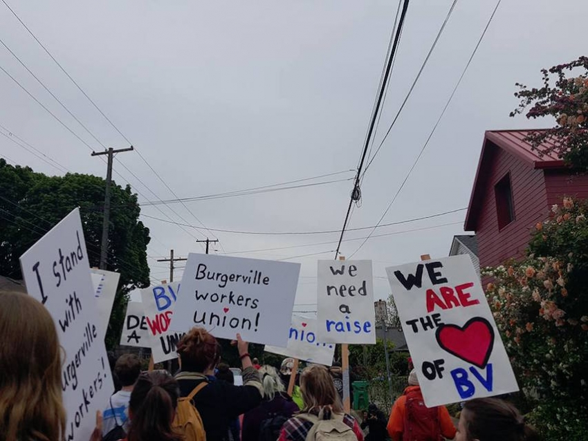 Burgerville Workers Union members and supporters rally in Portland, Ore. Photo courtesy of the BVWU