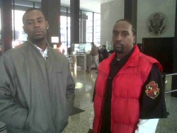 Deathrice Jimerson and Demetrie Collins allege they were cheated out of hundreds of dollars in wages at a Wal-Mart warehouse.   (Photo by Kari Lydersen)